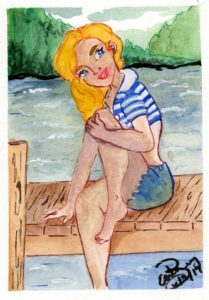 Sitting on the Dock: Watercolor