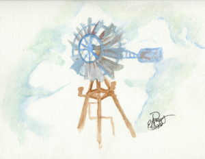 Windmill: Watercolor